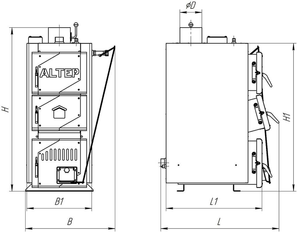 Розміри котла Kraft-L 15 кВт