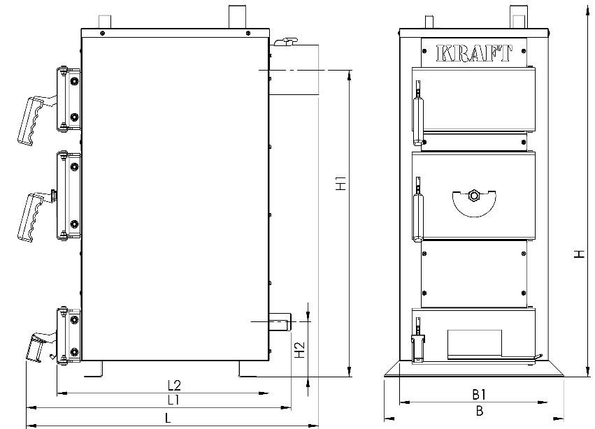 Розміри котла на дровах Kraft-E 24 кВт